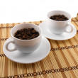 Coffee cup set top view on bamboo table — Stock Photo