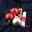 Christmas balls with white paper, red gift bow — Stock Photo