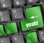 Yeah word on computer keyboard key — Stock Photo