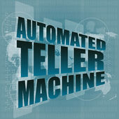 Automated teller machine word on digital touch screen — ストック写真