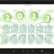 Stock Photo: Calendar for 2013 in tablet PC isolated on white background