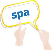 Händer push ordet spa på pratbubblor — Stockfoto