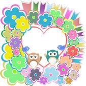Los búhos, pájaros amor corazón y flores — Foto de Stock