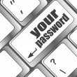 Stock Photo: Your password button on keyboard - security concept