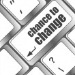 Chance to change key on keyboard showing business success — Foto Stock