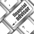 Keyboard key with financial advisor button — Stock Photo