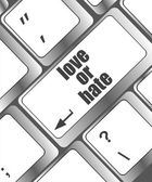 Love or hate relationships communication impressions ratings reviews computer keyboard key — Stock Photo