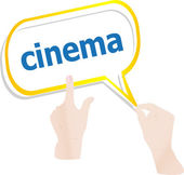 Hands push word cinema on speech bubbles — Stock Photo