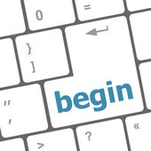 Begin word on keyboard key, notebook computer button — Stock Photo