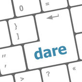 Dare word on keyboard key, notebook computer button — Stock Photo
