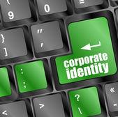コンピューターのキーボードのキーにコーポレートアイデンティティ ボタン — ストック写真