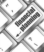 Keyboard key with financial planning button — Stock Photo