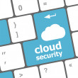 Cloud security concept showing cloud icon on computer key — Stock Photo
