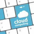 Cloud computing concept showing cloud icon on computer key. — Stock Photo