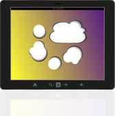 Speech bubble on black tablet pc social, network concept — Stock Photo