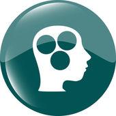 Idea head circle glossy icon — Stock Photo