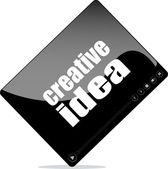 Reproductor de vídeo para la web con la palabra idea creativa — Foto de Stock