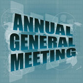 Annual general meeting word on digital touch screen — Stok fotoğraf