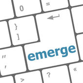 Emerge word on keyboard key, notebook computer button — Stock Photo
