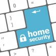 Safety concept: computer keyboard with Home security icon on enter button background — Stock Photo #33820701