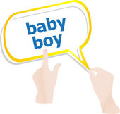 Hands holding abstract cloud with baby boy word — Stock Photo