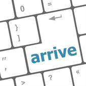 Arrive word on keyboard key, notebook computer — Stock Photo