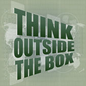 Think outside the box words on digital touch screen — Stock Photo