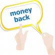 Stock Photo: Hands push word money back on speech bubbles