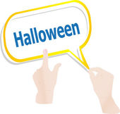 Hands push word halloween on speech bubbles, holiday card — Stok fotoğraf