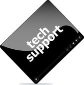 Social media concept: media player interface with tech support word — Stock Photo