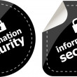 Information security black stickers label tag set — Stock Photo