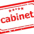 Cabinet on red rubber stamp over a white background — Stock Photo
