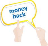 Hands push word money back on speech bubbles — Stockfoto