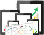 Cloud computing concept with tablet PC downloading data and arrow chart — Photo