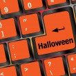 Halloween word on button of the keyboard key button — стоковое фото #34092977