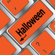 Halloween word on button of the keyboard key button — стоковое фото #34114413