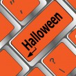 Halloween word on button of the keyboard key button — Stok fotoğraf
