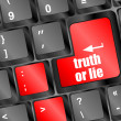 Truth or lie button on computer keyboard key — Foto de stock #34261585