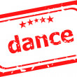 Dance word on red rubber old business stamp — Stock Photo
