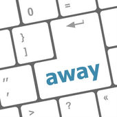 Away word on keyboard key, notebook computer — Stock Photo