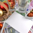 New year celebration event, money wallpaper, christmas balls and blank paper — Stock Photo #34277397