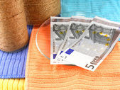 Soldi euro con bottiglia bianca d'epoca — Foto Stock