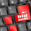 Big bucks on computer keyboard key button — Stock Photo #34840805
