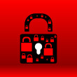 Lock red design elements for website or app — Stock Photo