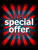 Template with modern sunburst and special offer text — Stock Photo