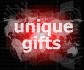 Unique gifts text on digital touch screen - holiday concept — Stock Photo