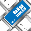 Big bucks on computer keyboard key button — Stock Photo