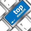 Stock Photo: Top discount concept sign on computer keyboard key