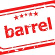 Barrel on red rubber stamp over a white background — Stock Photo