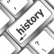 Laptop keyboard and key history on it — Stock Photo